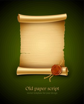 old paper script with stamp