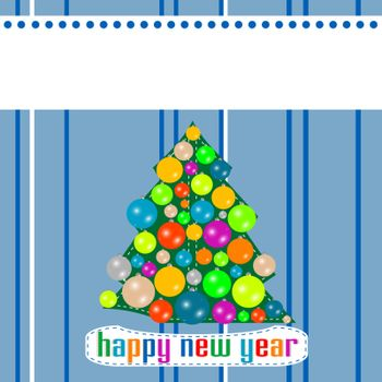 Blue Christmas template with tree on the balls. vector wallpaper