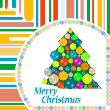 Merry Christmas ball on the tree winter tree. vector