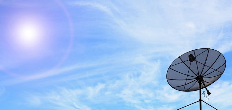 conceptual of antenna communication satellite dish over sunny blue sky