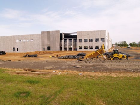 a big warehouse under construction