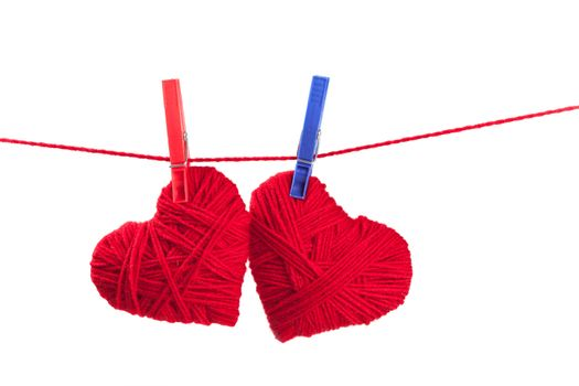 two thread hearts
