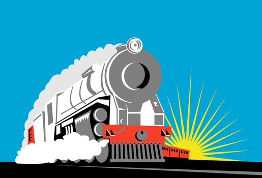 illustration of a steam train locomotive coming up on railroad done in retro woodcut style