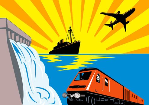 illustration of a diesel train locomotive,boat,ship and airplane with dam and sea ocean done in retro woodcut style