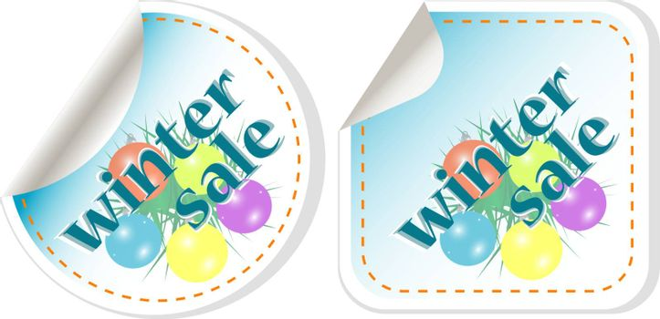Winter Sale stickers set with christmas balls. vector