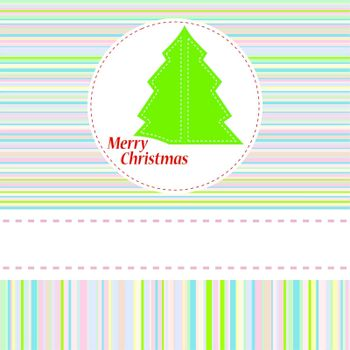Colorful vector illustration with decorated green Christmas tree