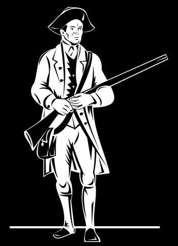 American revolution soldier patriot with rifle musket