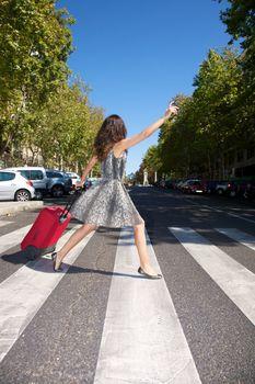 hurry up traveler woman