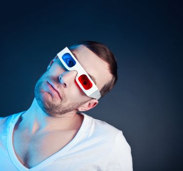 man and stereo glasses