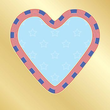 Independence Day congratulation card with heart made of flags