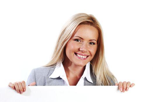 woman hidden behind paper