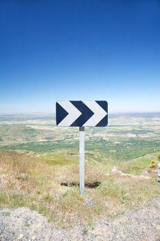 turn right signal at rural road