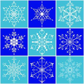 Christmas snowflake icon set