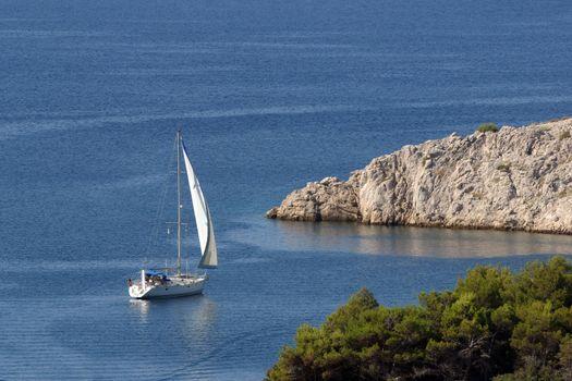 Boat sails the sea