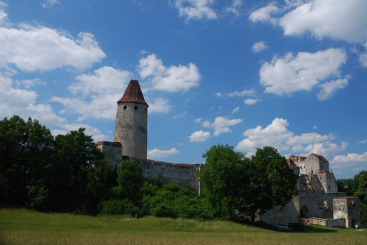 beautiful old ancient castle castle panorama view with blue sky in summer