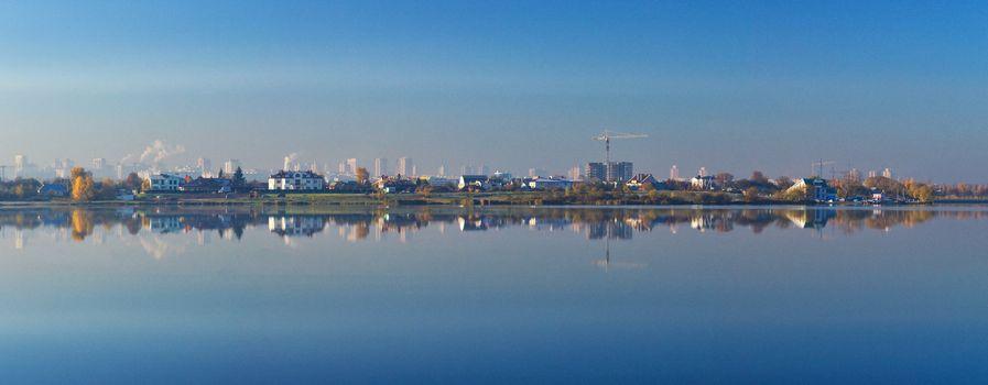 panorama of reflecting Minsk city