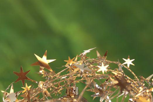 Christmas background green garland of stars