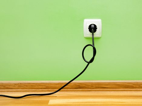 Electrical cable into the socket.