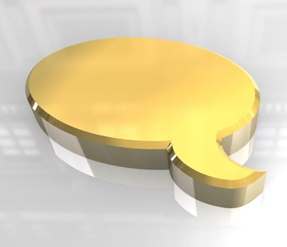 toon icon symbol in gold (3D)