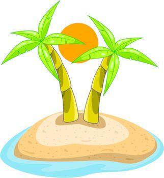 vector palms on island