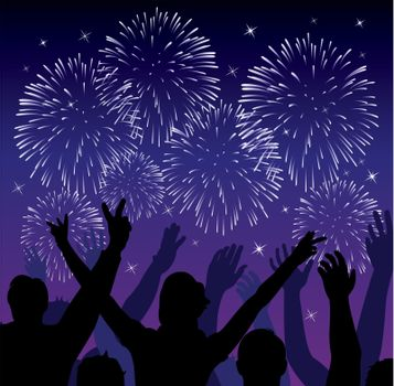 vector fireworks with silhouettes of happy people