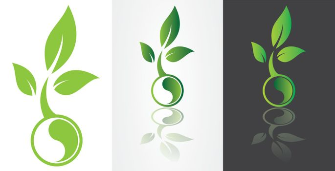 ying yang harmony symbolism with green leaf vector image.