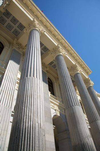 neoclassical columns in Madrid city
