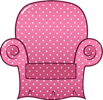 Pink dotted chair clipart isolated on white ( vector )