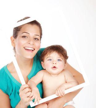 Female holding son