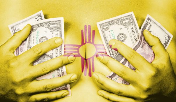 Sweaty girl covered her breast with money, flag of New Mexico