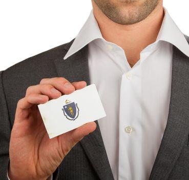 Businessman is holding a business card, Massachusetts