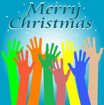 many hand and word Merry Christmas card background