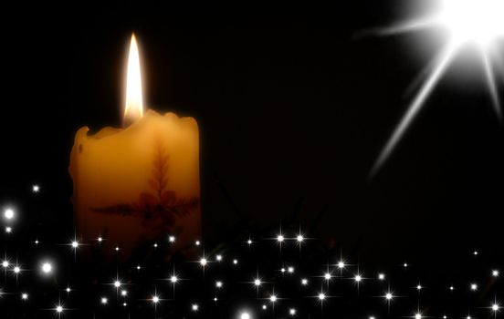 Christmas card, candle and stars on black background