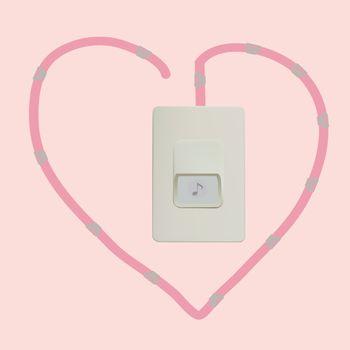 Vector of door bell heart wire