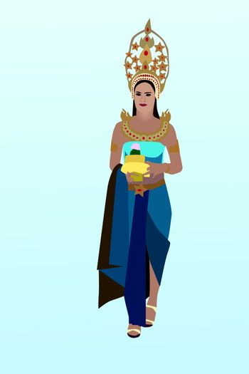 Vector illustration of woman in Thai traditional dress