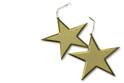 two gold stars Christmas, isolated on white background