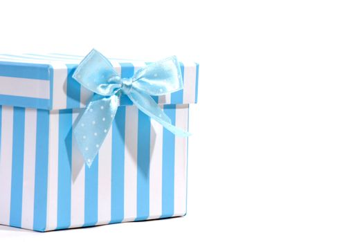 gift box with blue and white tie and space for text
