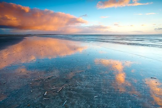 reflections of sky in North sea