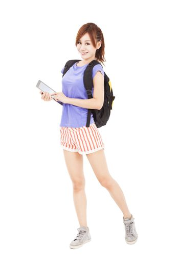 happy young woman holding tablet touchpad