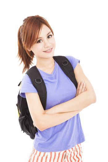 beautiful student asian girl with backpack