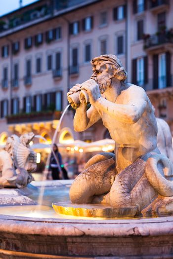 Northward view of the Piazza Navona with the fontana del Moro
