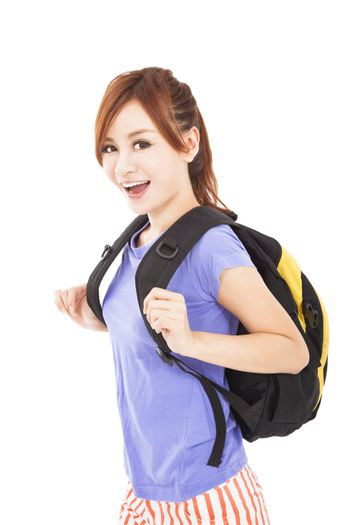 happy asian girl with backpack