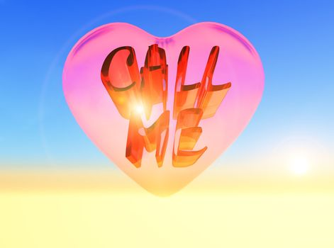 "the word "" call me "" inside a pink heart"