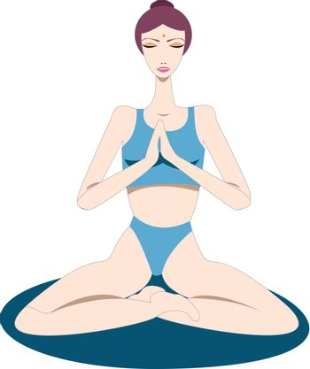 Yogini - a woman sitting on a yoga mat and focusing on breathing - meditates in lotus pose or padmasana, hands in prayer pose, eyes closed, to silence her mind and relax her body in order to reach inner peace and well-being by practicing mindfulness and self-control.