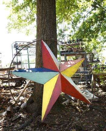 Colorful painted star made of metal leaning against tree.