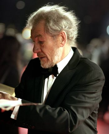 Sir Ian McKellen arrives at the Orange British Academy Film Awards in London's Royal Opera House on February 11