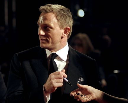 Actor Daniel Craig arrives at the Orange British Academy Film Awards in London's Royal Opera House on February 11