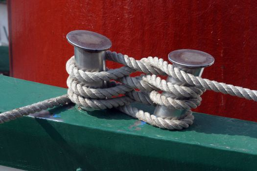 Close-up of a boat anchor rope