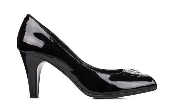 Elegant black woman shoes isolated over white background