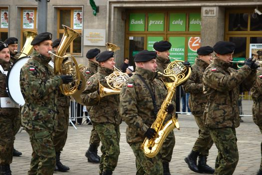 WROCLAW, POLAND - DECEMBER 2: Polish army, engineering training center for troops receives new army banner. Army orchestra joins the parade on December 2, 2011.